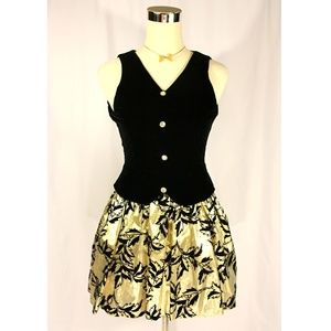 VTG Black Velvet Gold Lame Party Cocktail Dress
